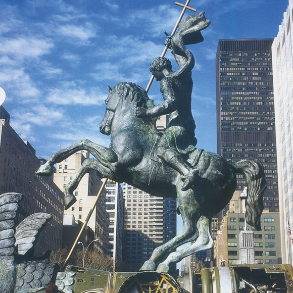 Good Defeats Evil, United Nations headquarters – New York, USA – 1990