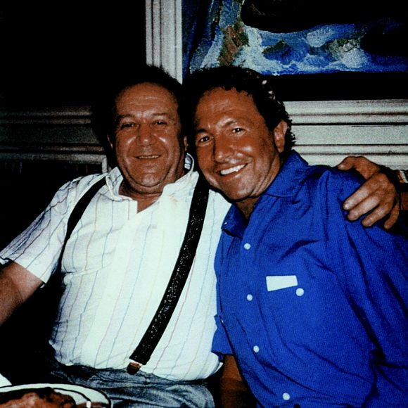 With Robert Rauschenberg at the studio on Bolshaya Gruzinskaya street, Moscow. 1987