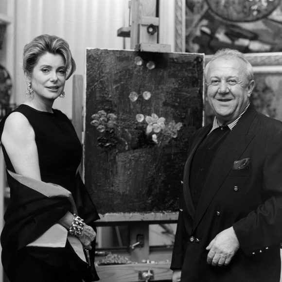 With Catherine Deneuve in the studio on Bolshaya Gruzinskaya street, Moscow. 1999
