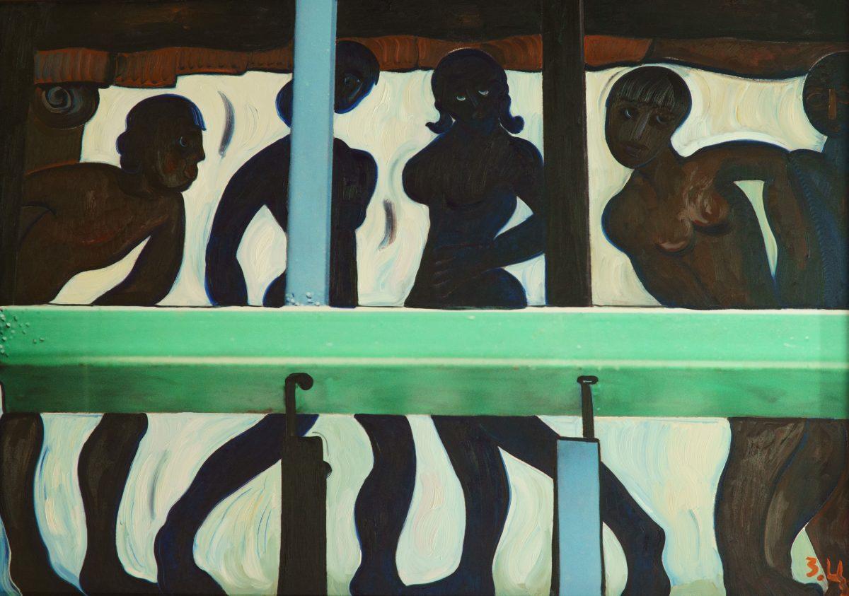 Composition #2. Oil on canvas, digital print.