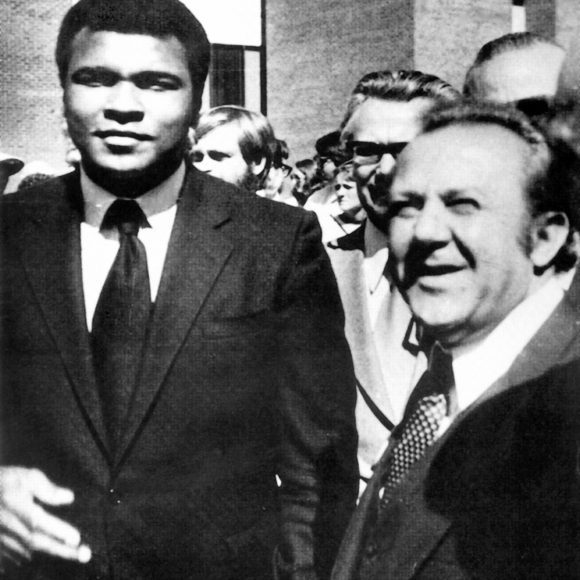 With Mohammad Ali at the unveiling of the sculptures in Brockport. 1979